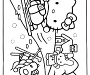 Coloriage Hello Kitty s'amuse avec La Neige