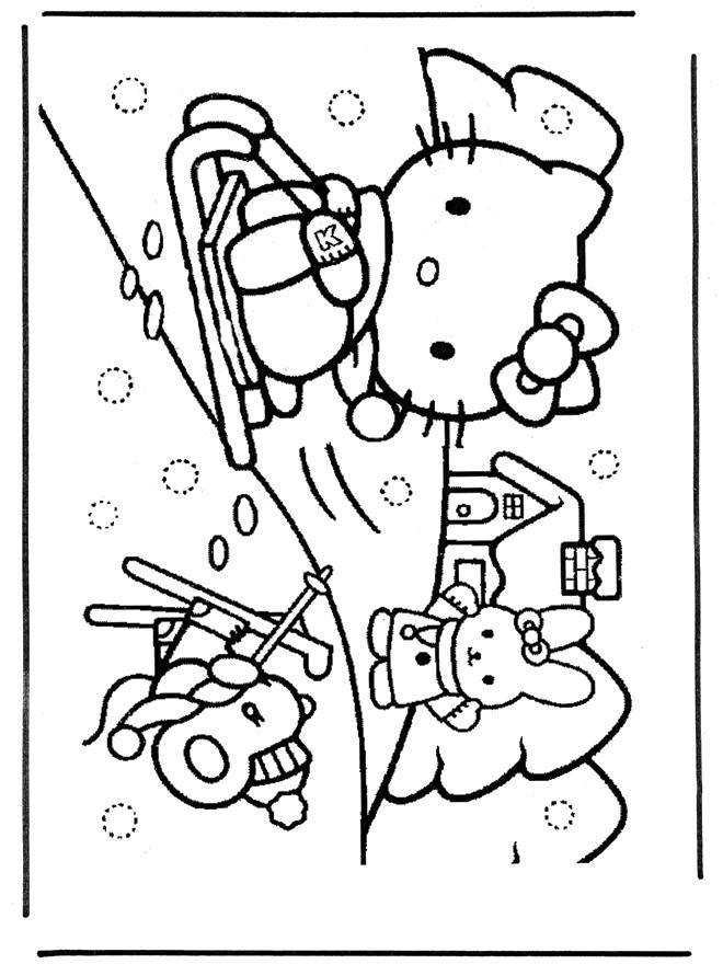 Coloriage et dessins gratuits Hello Kitty s'amuse avec La Neige à imprimer