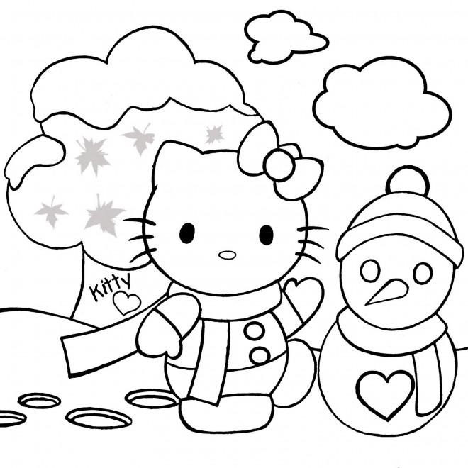 Coloriage et dessins gratuits Hello Kitty s'amuse dans le jardin à imprimer