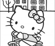 Coloriage Hello Kitty sur sa bicyclette