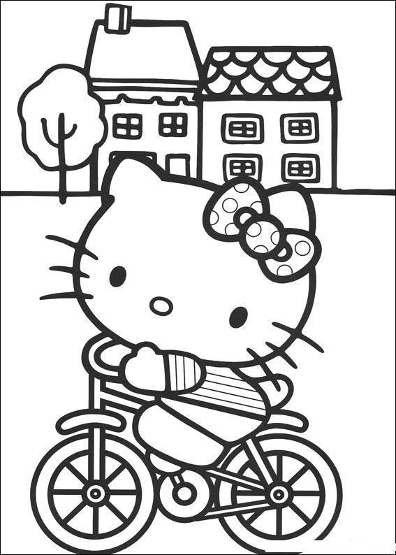 Coloriage et dessins gratuits Hello Kitty sur sa bicyclette à imprimer