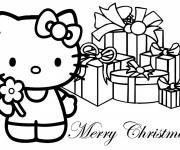 Coloriage Les Cadeaux Noel de Hello Kitty