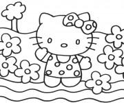 Coloriage Les Fleurs entourent Hello Kitty