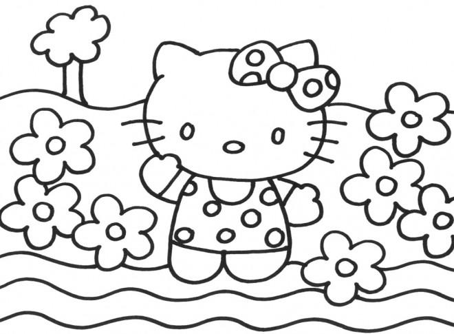 Coloriage les fleurs entourent hello kitty dessin gratuit imprimer - Coloriage hello kitty fleurs ...
