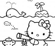 Coloriage et dessins gratuit Hello Kitty à la Plage maternelle à imprimer