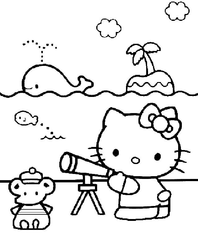 Coloriage et dessins gratuits Hello Kitty à la Plage maternelle à imprimer
