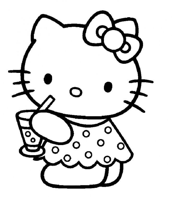 Coloriage et dessins gratuits Hello Kitty boit du jus à imprimer