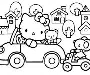 Coloriage Hello Kitty conduit sa voiture