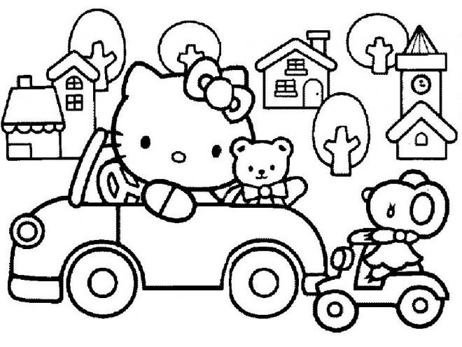 Coloriage et dessins gratuits Hello Kitty conduit sa voiture à imprimer