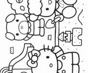 Coloriage et dessins gratuit Hello Kitty et le château de sable à imprimer