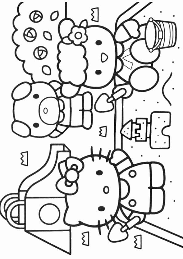 Coloriage et dessins gratuits Hello Kitty et le château de sable à imprimer