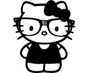 Coloriage et dessins gratuit Hello Kitty et son Maillot en noir à imprimer