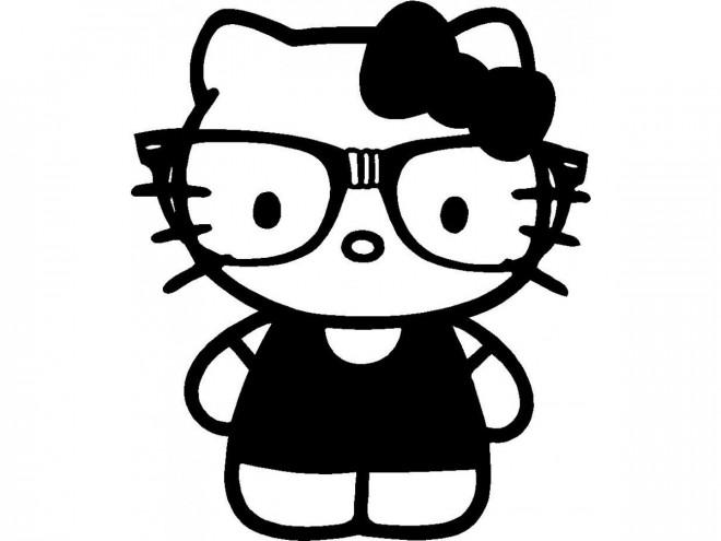 Coloriage et dessins gratuits Hello Kitty et son Maillot en noir à imprimer