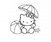 Coloriage et dessins gratuit Hello Kitty joue sur la Plage à imprimer