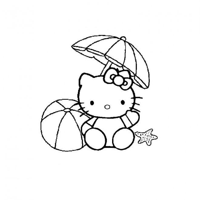 Coloriage et dessins gratuits Hello Kitty joue sur la Plage à imprimer
