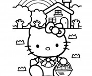 Coloriage Hello Kitty Plage 11