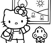 Coloriage et dessins gratuit Hello Kitty Plage en Été à imprimer