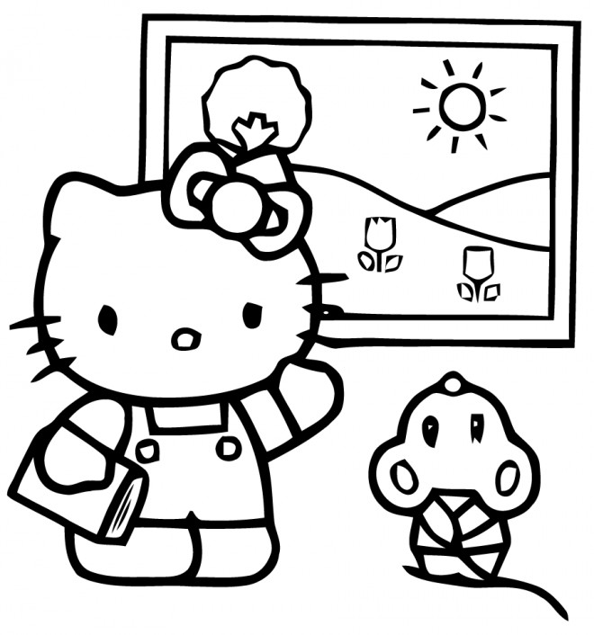 Coloriage et dessins gratuits Hello Kitty Plage en Été à imprimer