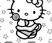Coloriage et dessins gratuit Hello Kitty Plage vecteur à imprimer