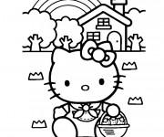 Coloriage et dessins gratuit Hello Kitty porte des Fraises à imprimer