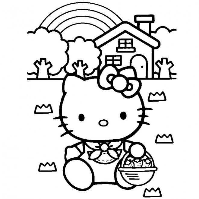 Coloriage et dessins gratuits Hello Kitty porte des Fraises à imprimer