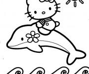Coloriage et dessins gratuit Hello Kitty sur un dauphin à imprimer
