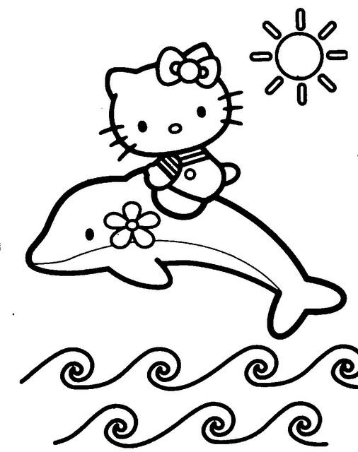 Coloriage et dessins gratuits Hello Kitty sur un dauphin à imprimer