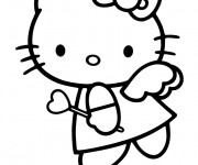 Coloriage Hello Kitty Ange d'amour