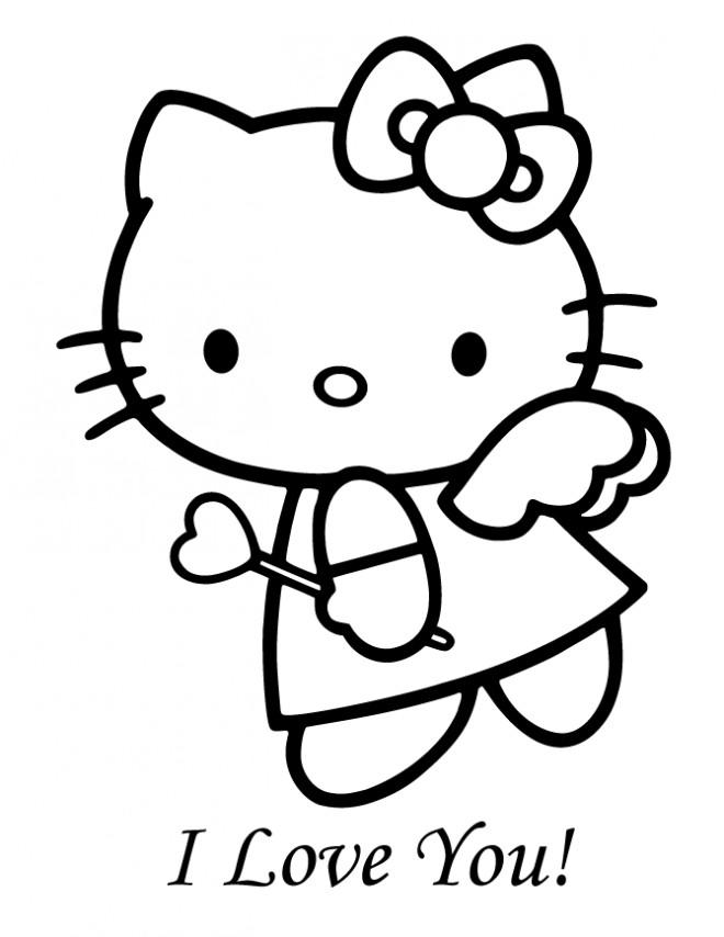 Coloriage et dessins gratuits Hello Kitty Ange d'amour à imprimer