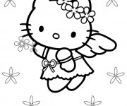 Coloriage Hello Kitty Ange en vol