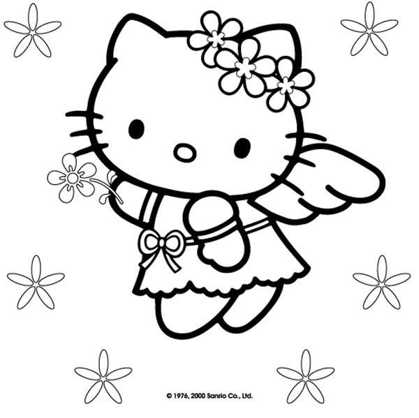 Coloriage Fleur Hello Kitty.Coloriage Hello Kitty Ange En Vol Dessin Gratuit A Imprimer