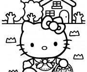 Coloriage Hello Kitty ceuille des fraises