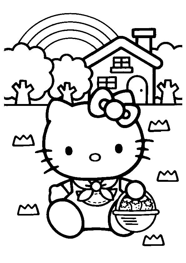 Coloriage et dessins gratuits Hello Kitty ceuille des fraises à imprimer