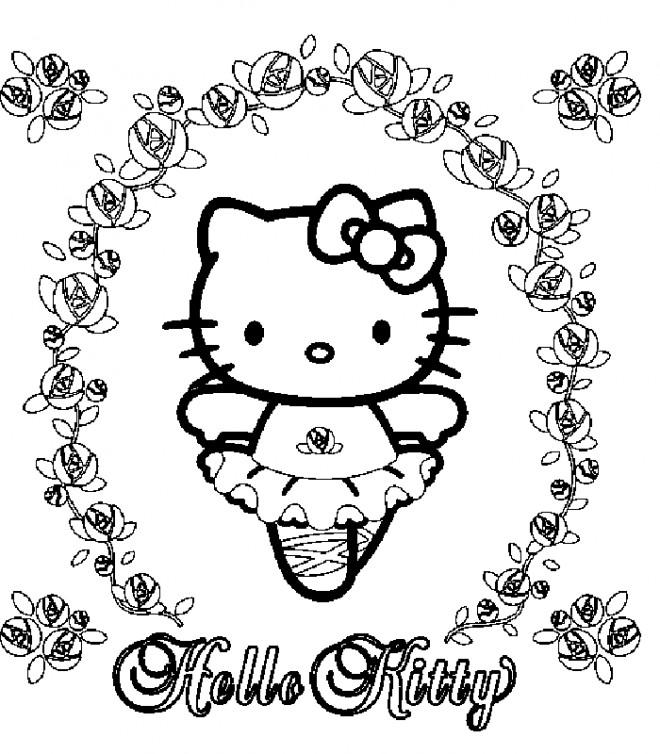Coloriage et dessins gratuits Hello Kitty danseuse à imprimer