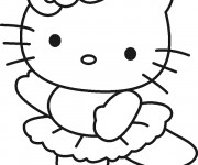 Coloriage Hello Kitty Danseuse simple