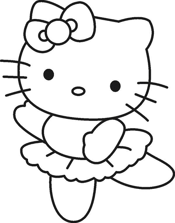 Coloriage Hello Kitty Danseuse Simple Dessin Gratuit à Imprimer