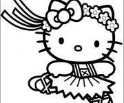 Coloriage Hello Kitty et danse classique