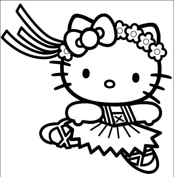 Coloriage Hello Kitty et danse classique dessin gratuit à imprimer