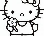 Coloriage Hello Kitty offre une fleur