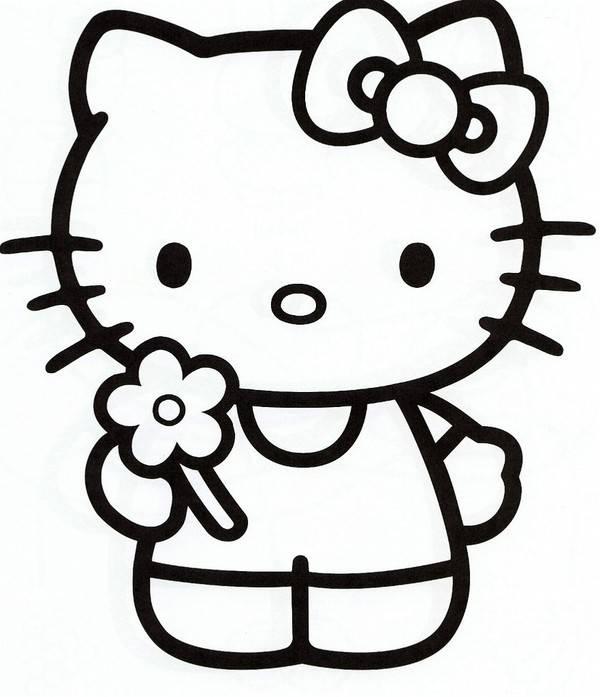 Coloriage Hello Kitty offre une fleur dessin gratuit à imprimer