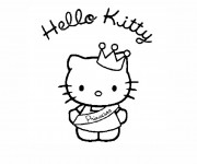 Coloriage Hello Kitty Princesse à découper