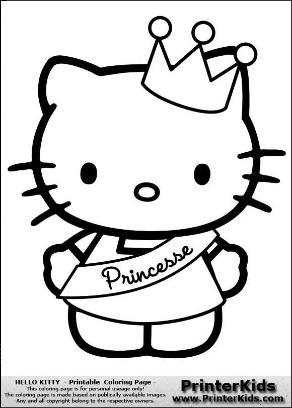 Coloriage Hello Kitty Princesse En Couleur Dessin Gratuit A Imprimer