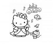 Coloriage Hello Kitty Princesse et les Animaux