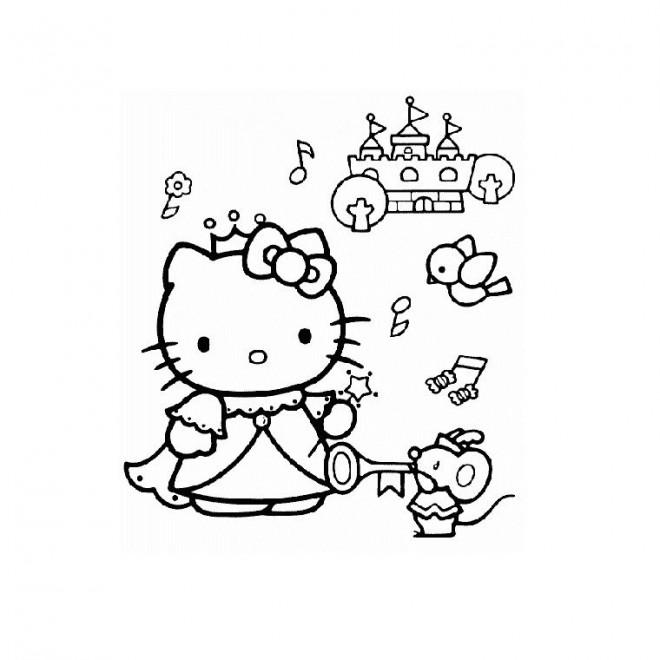 Coloriage et dessins gratuits Hello Kitty Princesse et les Animaux à imprimer