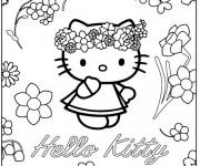 Coloriage Hello Kitty Princesse et Les Fleurs