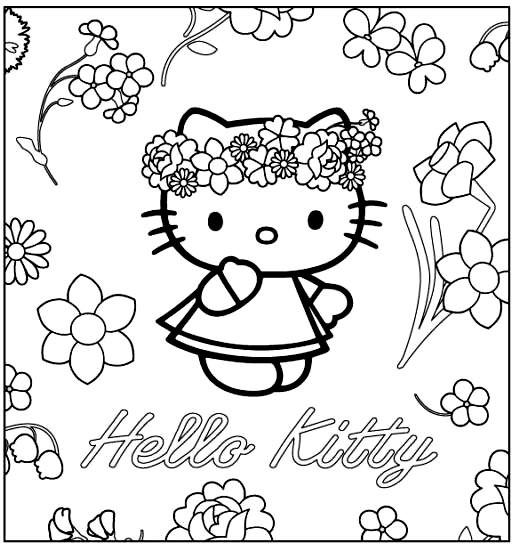 Coloriage hello kitty princesse et les fleurs dessin gratuit imprimer - Coloriage hello kitty fleurs ...