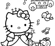 Coloriage Hello Kitty Princesse maternelle
