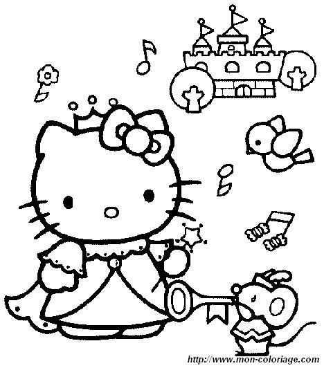 Coloriage et dessins gratuits Hello Kitty Princesse maternelle à imprimer