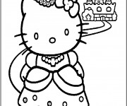 Coloriage Hello Kitty Princesse pour Enfant