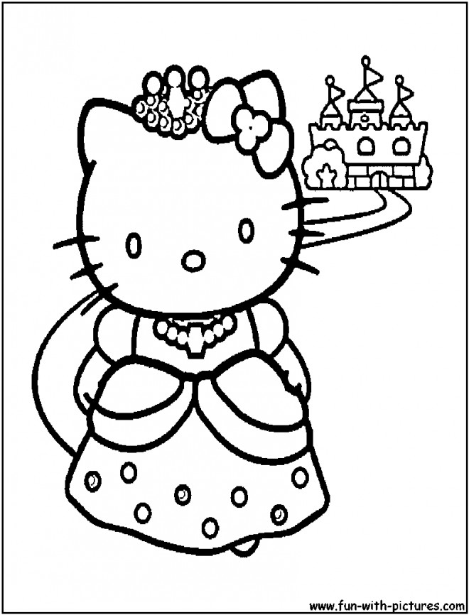 Coloriage Hello Kitty Princesse Pour Enfant Dessin Gratuit à Imprimer